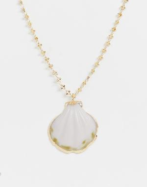 Ожерелье с подвеской-ракушкой -Золотой ASOS DESIGN