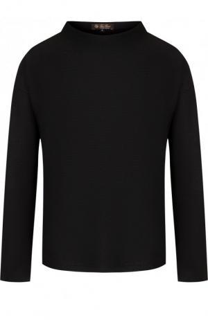 Однотонный пуловер из смеси кашемира и шелка Loro Piana. Цвет: темно-серый