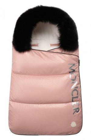 Конверт с меховой отделкой Moncler Enfant. Цвет: розовый