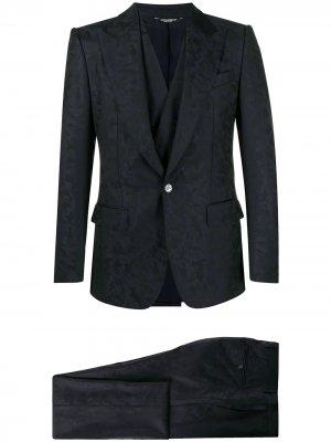 Костюм-тройка с камуфляжным принтом Dolce & Gabbana. Цвет: синий