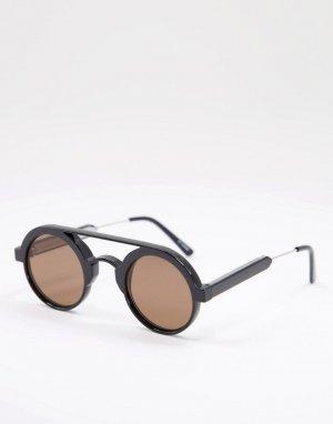 Круглые солнцезащитные очки унисекс в черной оправе с коричневыми линзами Ambient-Черный Spitfire