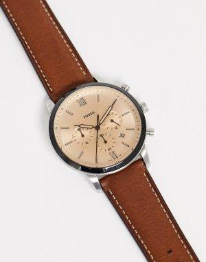 Коричневые часы с кожаным ремешком FS5627 Neutra Chrono-Коричневый Fossil