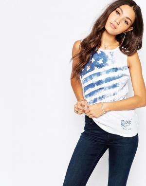Майка с принтом американского флага Pepe Jeans. Цвет: белый