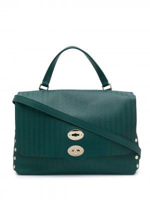 Большая сумка-тоут Postina Zanellato. Цвет: зеленый
