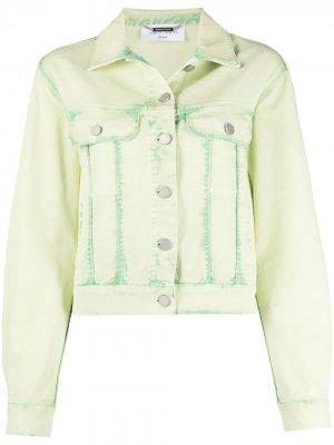 Джинсовая куртка из вареного денима Alberta Ferretti. Цвет: зеленый