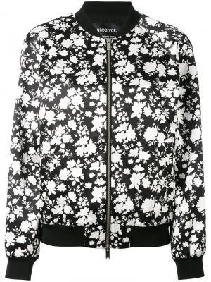 Куртка-бомбер с цветочным принтом Golden Goose Deluxe Brand. Цвет: чёрный