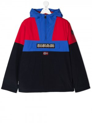 Куртка с капюшоном и вышитым логотипом Napapijri. Цвет: синий