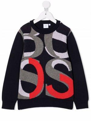 Джемпер вязки интарсия BOSS Kidswear. Цвет: синий