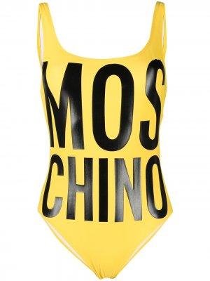 Купальник с логотипом Moschino. Цвет: желтый