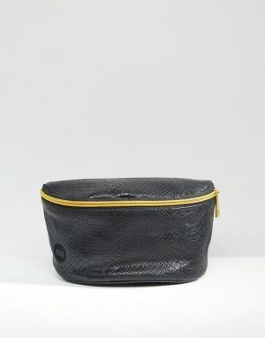 Черная сумка-кошелек на пояс из искусственной кожи Mi-Pac. Цвет: черный