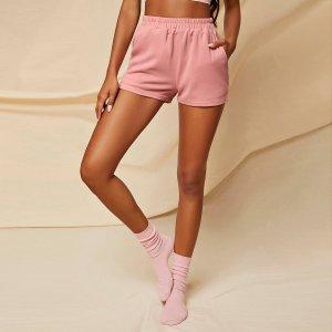 Домашние шорты с карманом SHEIN. Цвет: розовые