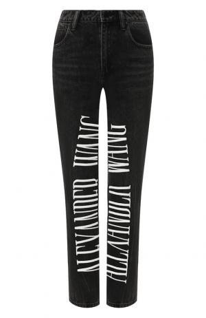 Укороченные джинсы с логотипом бренда Denim X Alexander Wang. Цвет: серый