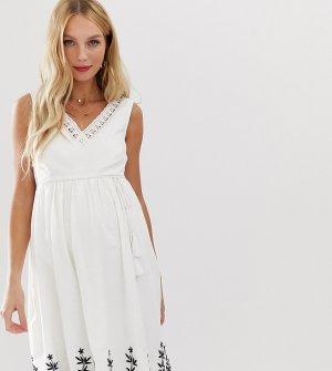 Летнее платье с вышивкой Mamalicious-Белый Mama.licious