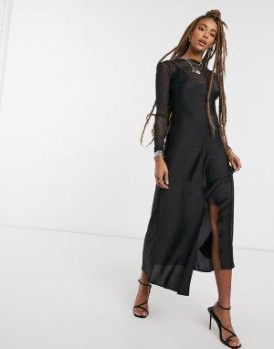Черное платье-комбинация макси -Черный Free People