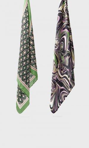 Набор Из 2 Бандан С Геометрическим Принтом Зеленый 103 Stradivarius. Цвет: зеленый