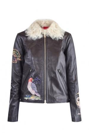 Кожаная куртка с вышивкой Red Valentino. Цвет: коричневый