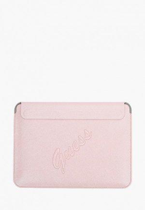 Чехол для ноутбука Guess 13, Sleeve Saffiano Script logo Pink. Цвет: розовый
