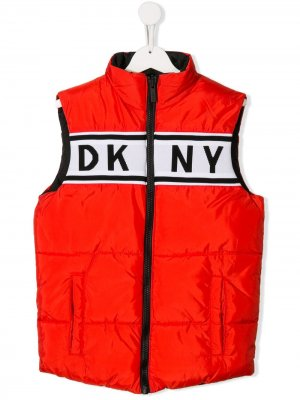 Жилет с контрастным логотипом Dkny Kids. Цвет: красный