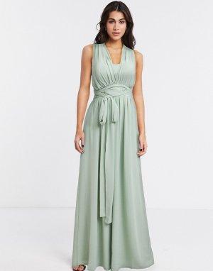 Светло-зеленое платье макси с перекрестами на спине и завязкой -Зеленый цвет Goddiva