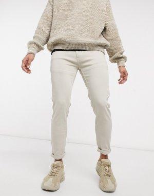 Узкие брюки песочного цвета -Бежевый Bershka