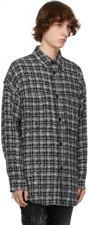 SSENSE Exclusive Black & Silver Tweed Oversized Shirt Faith Connexion. Цвет: 001 black