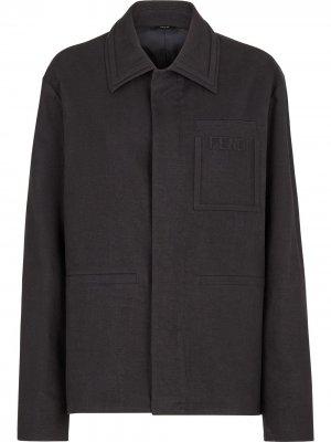 Пальто с логотипом Fendi. Цвет: черный