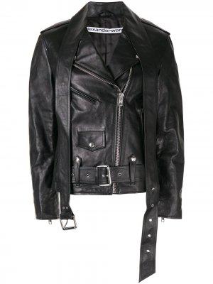 Байкерская куртка на молнии Alexander Wang. Цвет: черный