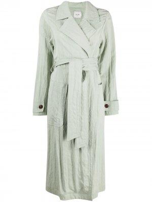 Пальто миди с поясом Alysi. Цвет: зеленый