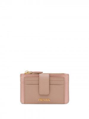 Картхолдер с логотипом Prada. Цвет: розовый
