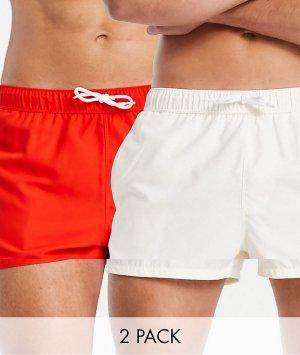 Набор из 2 коротких шорт для плавания красного и светлого цвета ASOS DESIGN