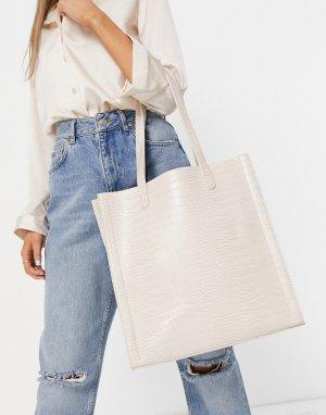 Кремовая сумка-шоппер с отделкой под крокодиловую кожу и отделением для ноутбука -Белый ASOS DESIGN