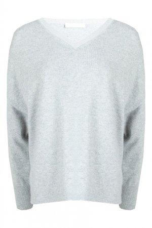 Серый пуловер с декорированным вырезом Fabiana Filippi. Цвет: серый