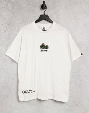 Белая футболка с надписью Aaper AAPE By A Bathing Ape-Белый APE®
