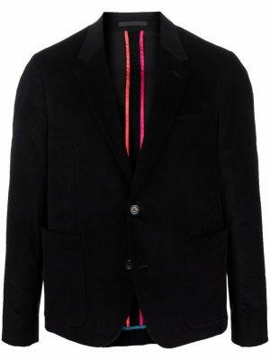 Вельветовый пиджак строгого кроя PS Paul Smith. Цвет: черный