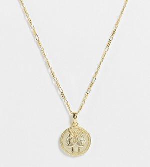 Золотистое ожерелье из серебра 925 пробы с позолотой 14 карат и подвеской в виде Януса -Золотистый Serge DeNimes