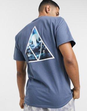 Синяя футболка с принтом в виде треугольников lupus noctem-Голубой HUF