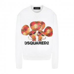 Хлопковый свитшот Dsquared2. Цвет: белый
