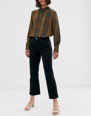 Укороченные расклешенные джинсы черного цвета -Черный & Other Stories