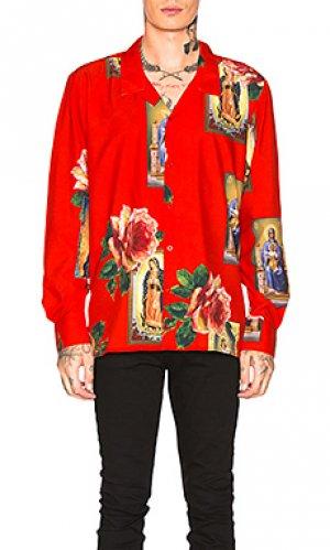 Лонгслив holy floral Civil Regime. Цвет: красный