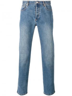Прямые джинсы с потертостями A.P.C.. Цвет: синий
