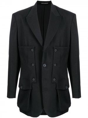 Шерстяной пиджак со вставками Yohji Yamamoto. Цвет: черный