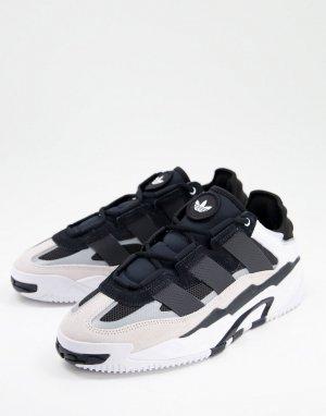 Белые с черным кроссовки adidas Originals Niteball-Белый