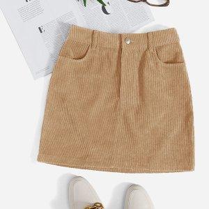 Вельветовая прямая юбка мини с карманами SHEIN. Цвет: жёлтовато бурые