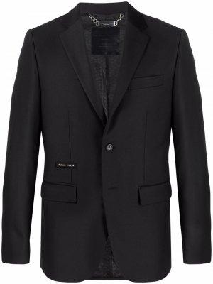 Однобортный пиджак с принтом Skull Philipp Plein. Цвет: черный
