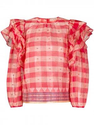 Блузка в клетку с оборками Ulla Johnson. Цвет: красный