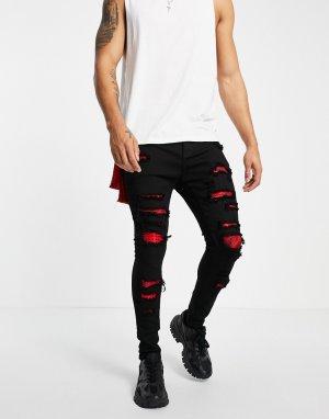 Черные зауженные джинсы с нашивками в виде красной банданы эффектом потертости -Черный цвет Liquor N Poker