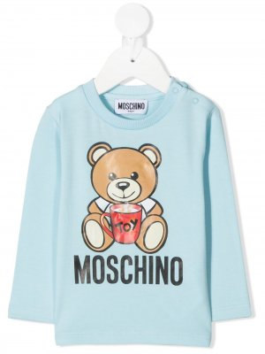 Long sleeve teddy print T-shirt Moschino Kids. Цвет: синий