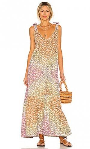 Макси платье v neck juliet dunn. Цвет: pink,yellow