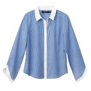 Рубашка прямая с воротником-поло и длинными рукавами VERO MODA. Цвет: розовый в полоску,синий/ в полоску