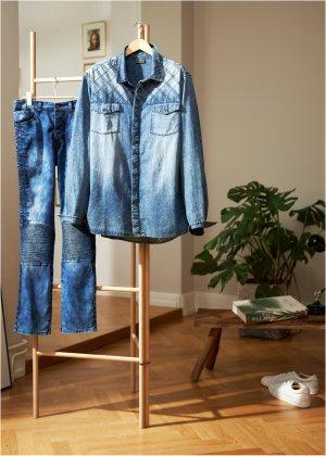 Рубашка джинсовая Slim Fit bonprix. Цвет: синий